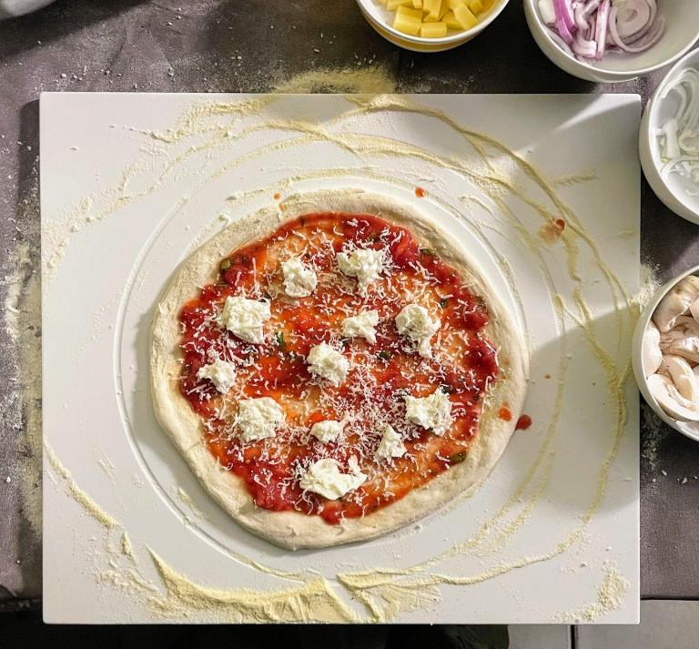 Abbildung der ausgedehnten Pizza